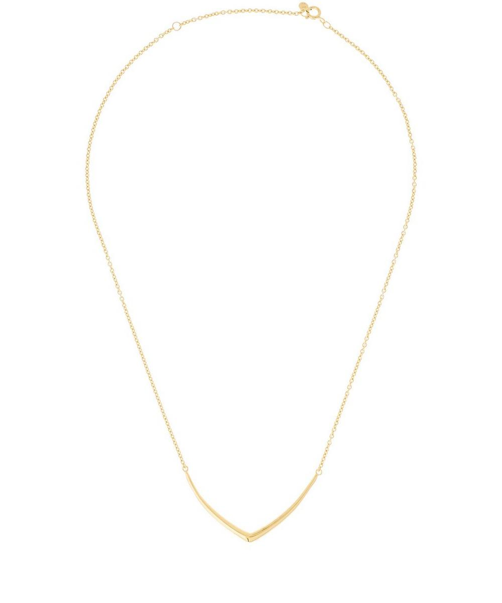 Small Gold-Plated Cushion Chevron Necklace