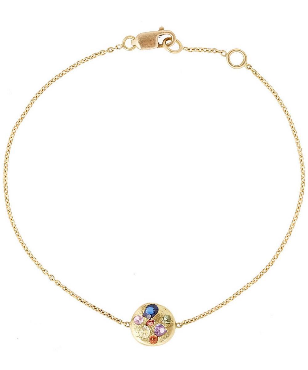 Gold Rainbow Disc Bracelet