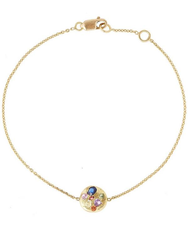 Gold Rainbow Disc Bracelet