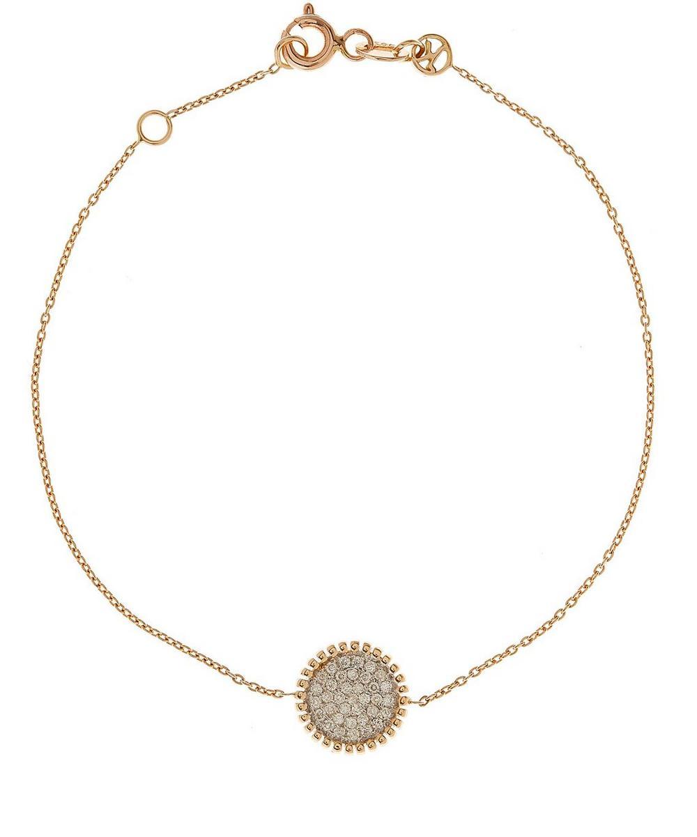 Rose Gold and White Diamond Disc Bracelet
