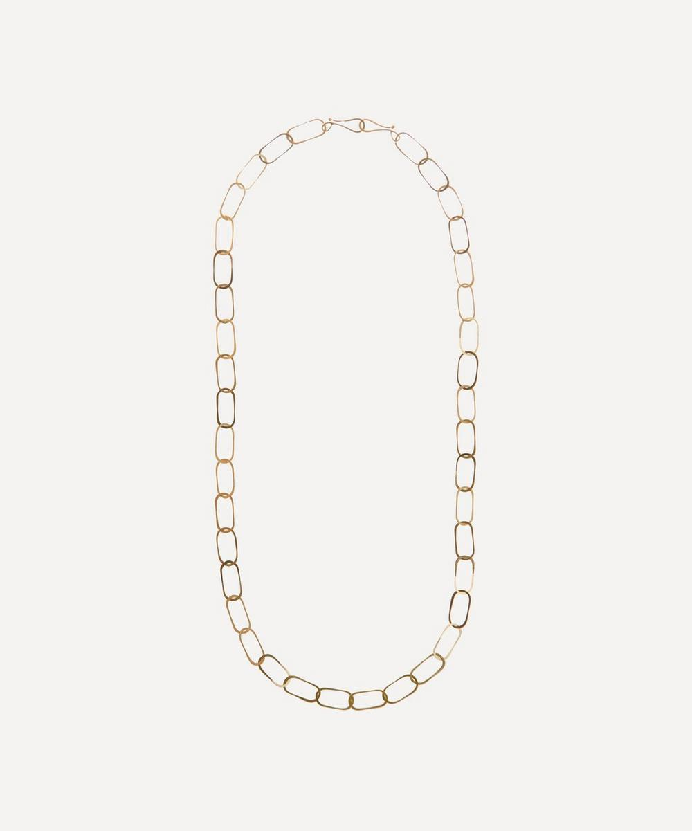 Gold Oval Link Dual Hook Necklace