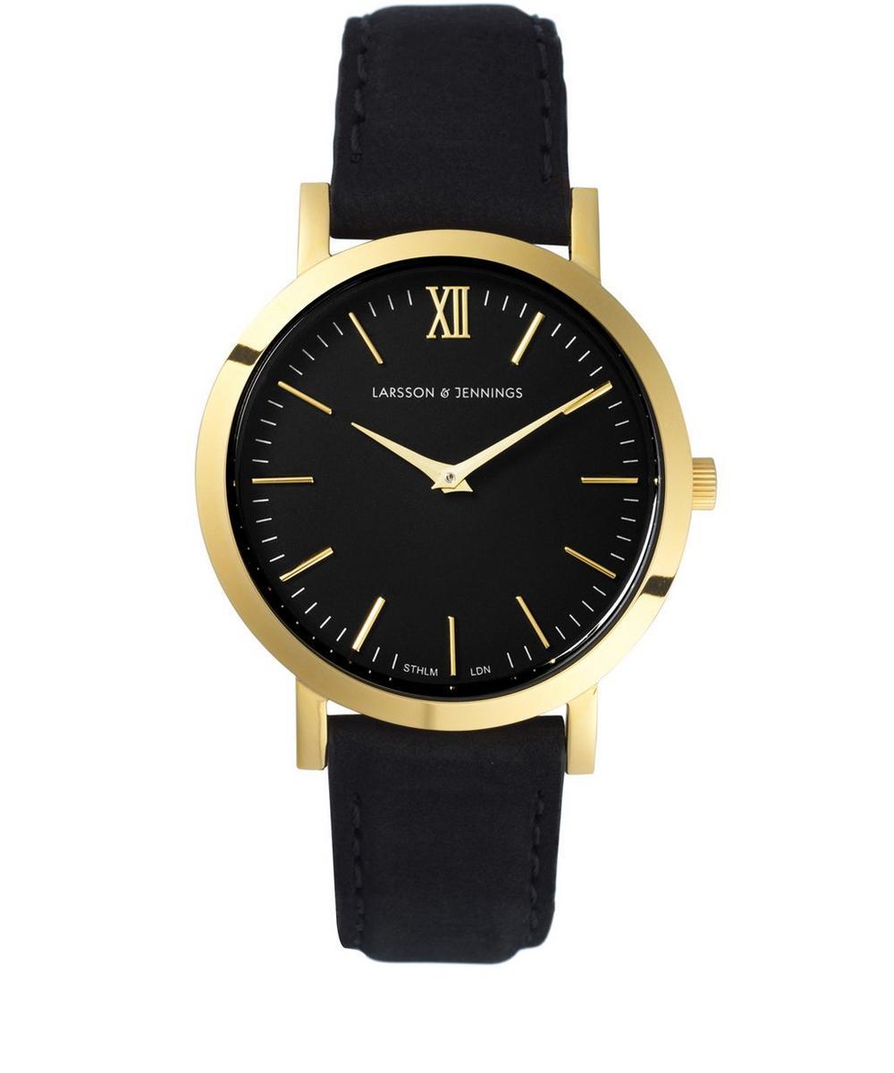 Lugano Black-Gold Leather Watch