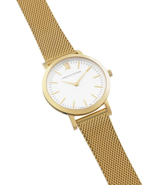 Lugano 33mm Gold-White Milanese Watch