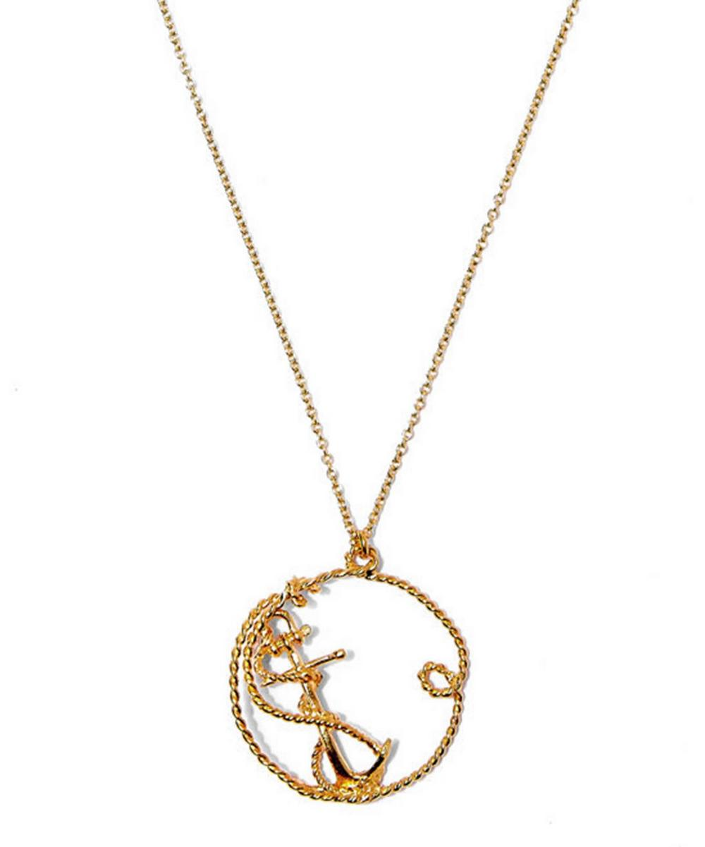 Gold-Plated Twisted Anchor Circle Pendant Necklace
