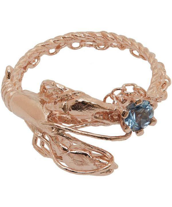Rose Gold-Plated Lobster Aquamarine Ring