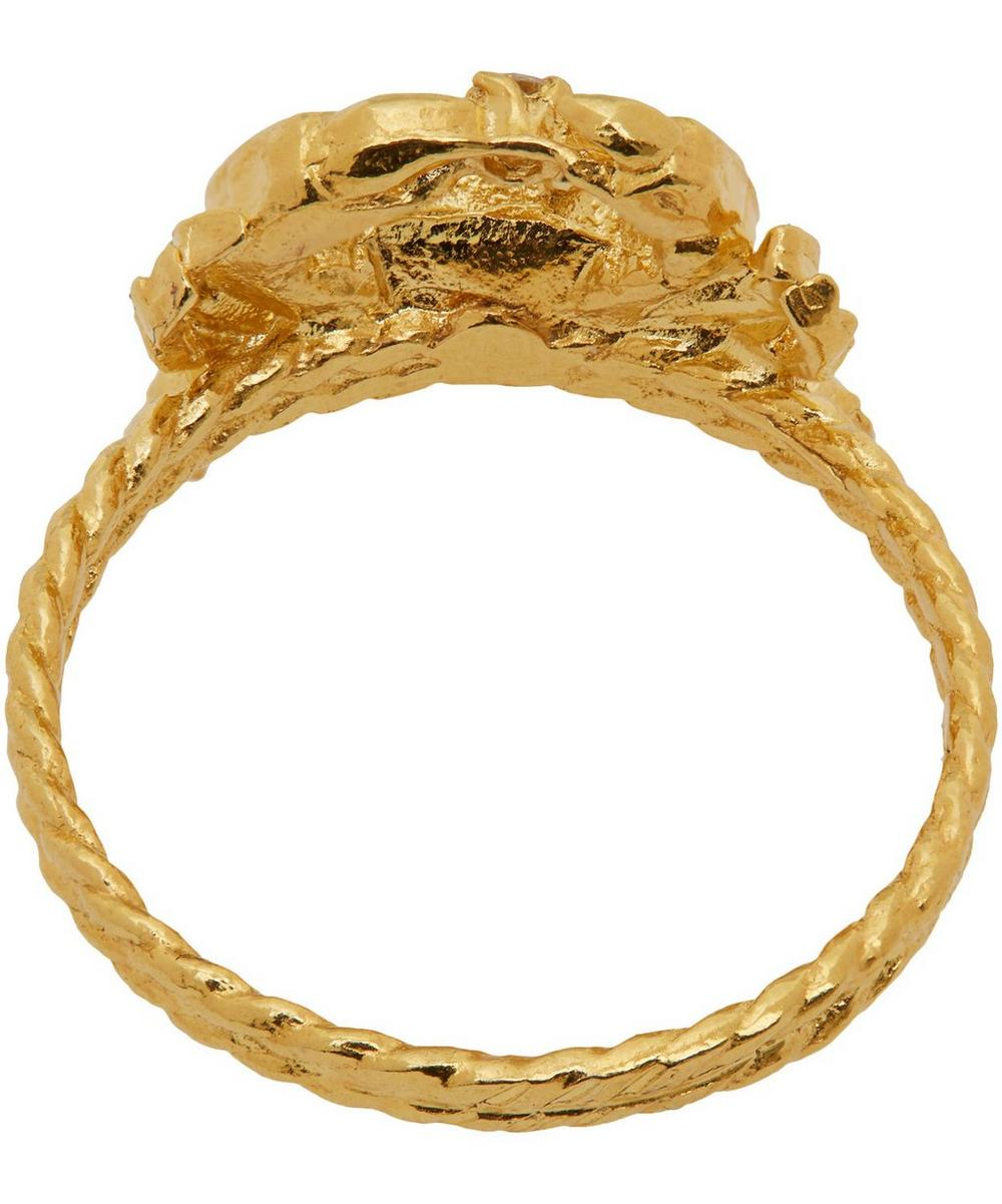 Gold-Plated Crab Diamond Ring