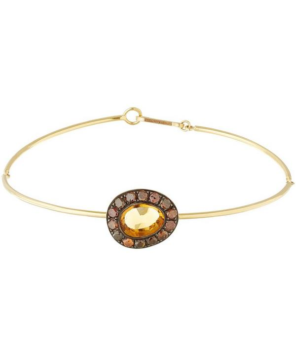 Gold Citrine Dusty Diamonds Bangle