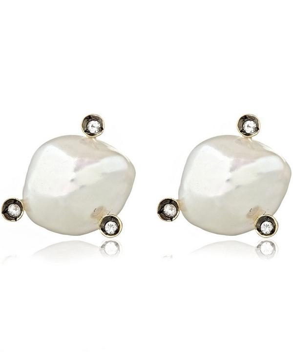 Gold and Sapphire Frost Pearl Stud Earrings
