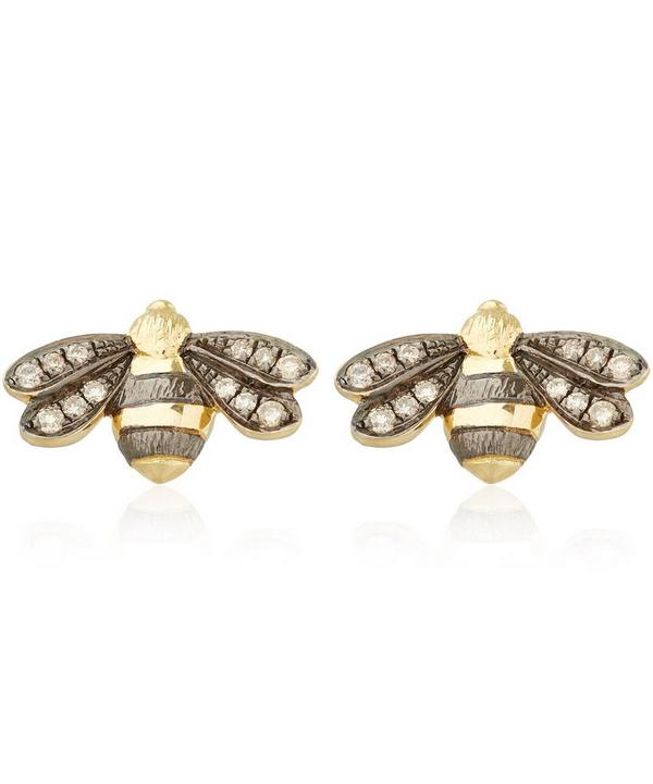 Gold Love Diamonds Bee Stud Earrings