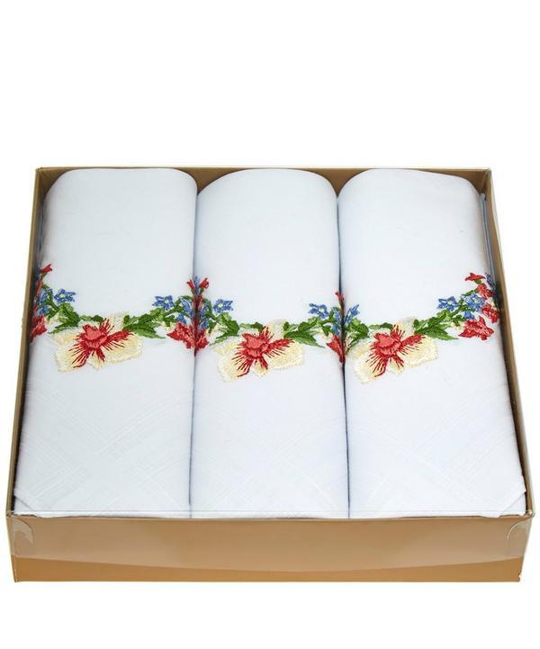 Theodora Embroidered Cotton Handkerchief Set