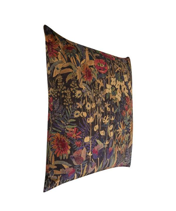 Faria Flowers Vintage Velvet Cushion In Blackberry