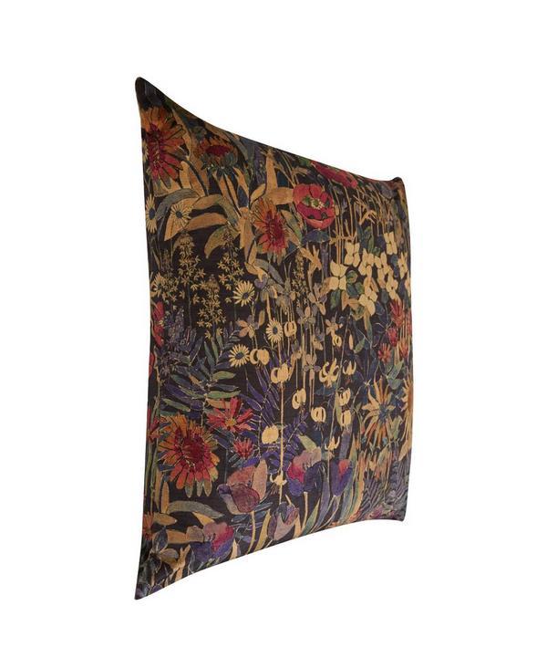 Faria Flowers Vintage Velvet Cushion In Blackberry