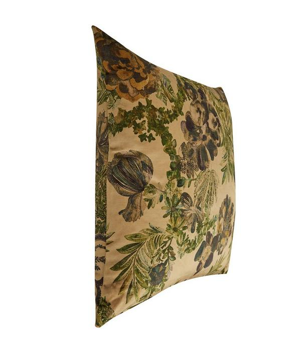 Jeffery Rose Tree Vintage Velvet Cushion In Golden