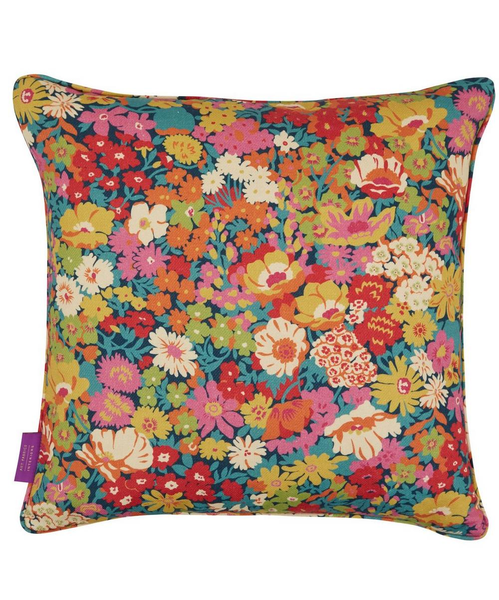 Flowers of Thorpe Cotton Linen Twill Cushion In Summer Bloom