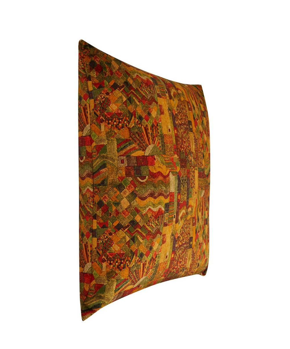 Chapman Tapestry Vintage Velvet Cushion In Marmalade