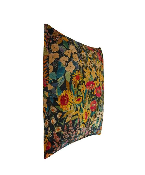 Faria Flowers Vintage Velvet Cushion In Marigold