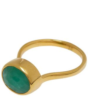 Gold-Plated Emerald Candy Ring