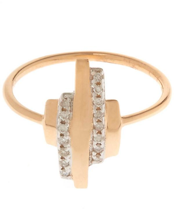 Gold White Diamond Beat Pinky Ring