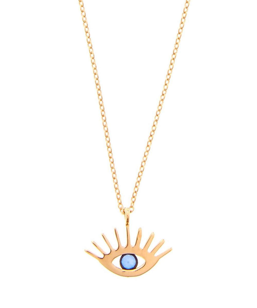 Rose Gold Sapphire Evil Eye Necklace