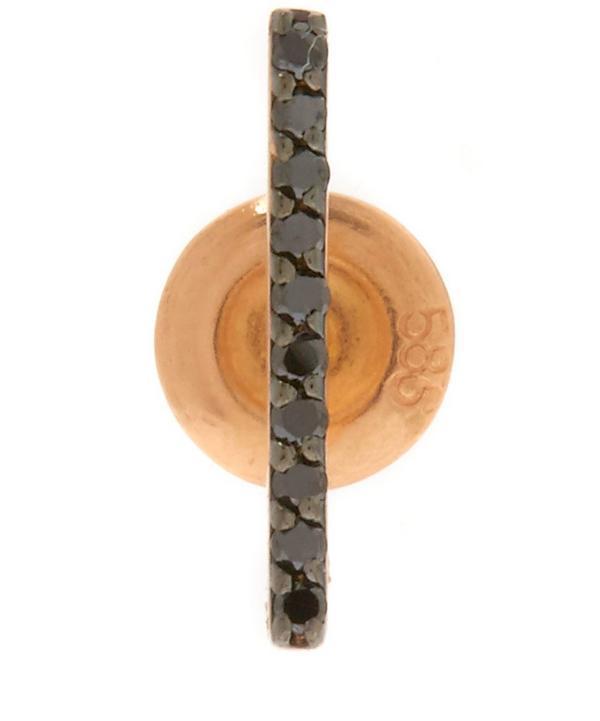 Gold Black Diamond Stick Stud Earring