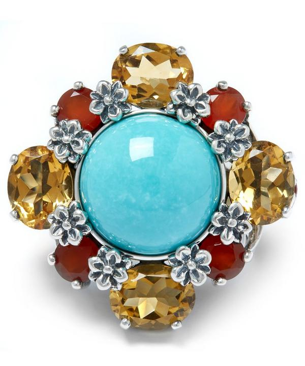 Sterling Silver Multi-Stone Turquoise Citrine Ring