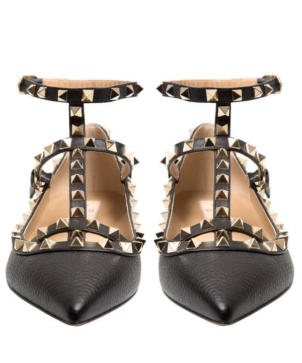 Rockstud Leather Ballet Pumps
