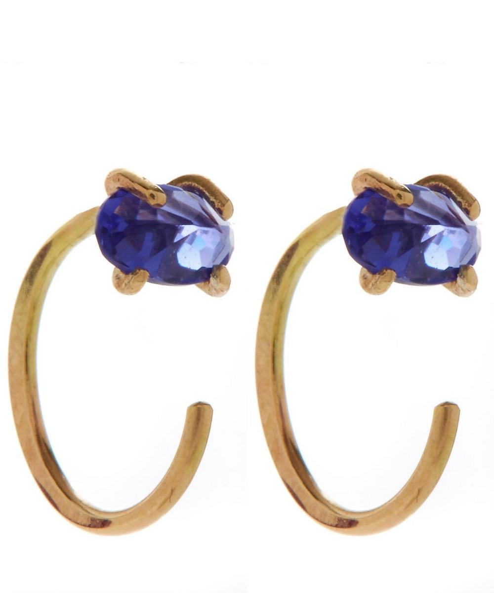 Tanzanite Hug Hoop Earrings