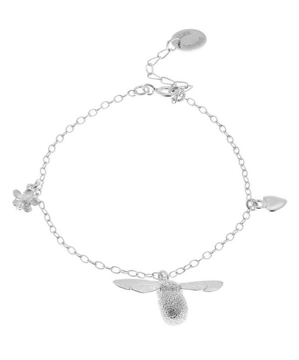 Silver Baby Bumblebee Flower Charm Bracelet