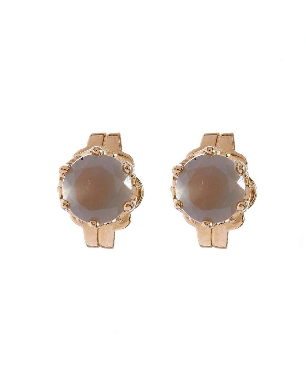 Moonstone Solitaire Stud Earrings