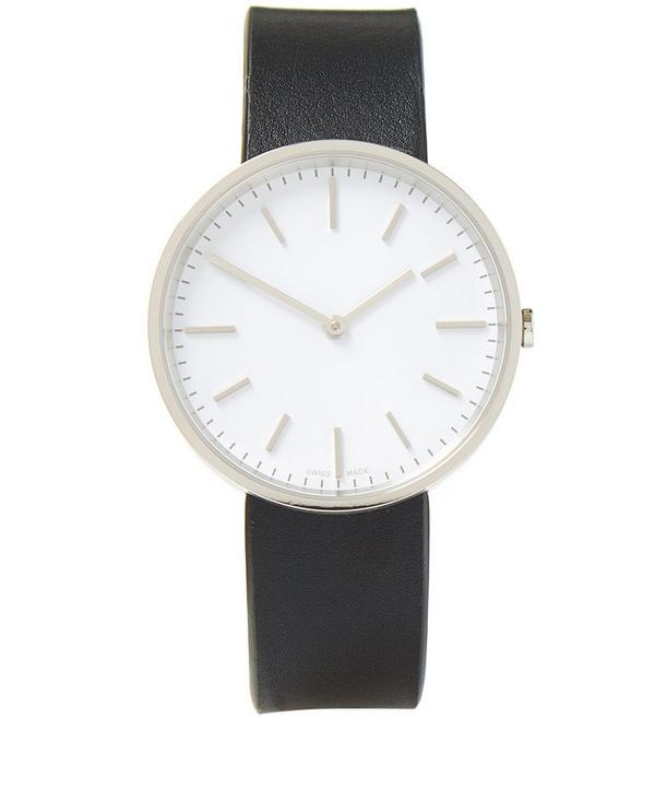Polished Steel Nappa Leather Watch