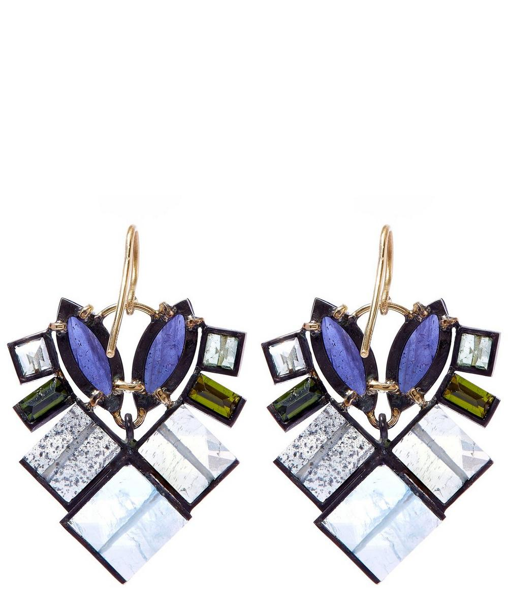 Gemstone Mosaic Drop Earrings