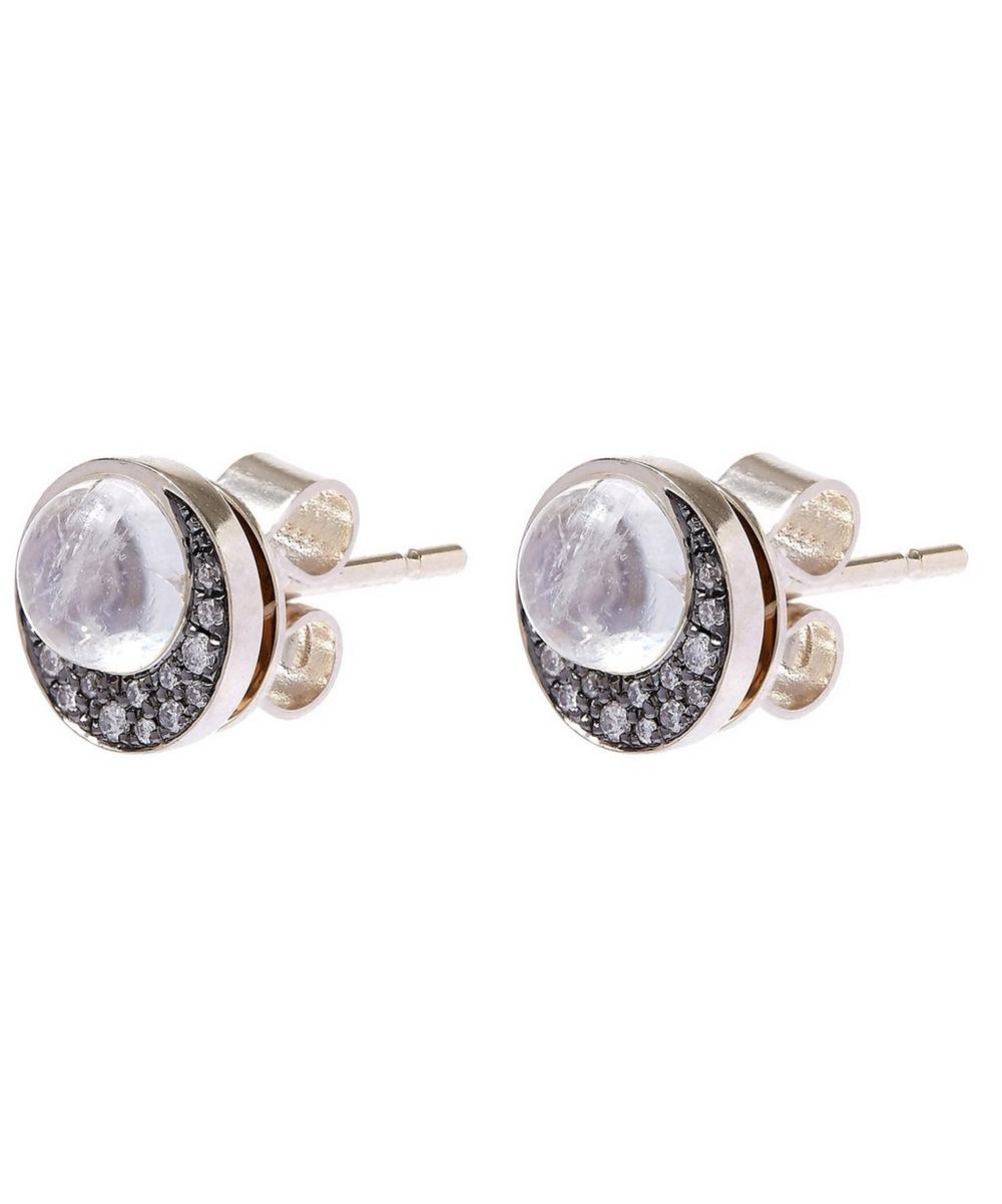 Eclipse Diamond and Moonstone Stud Earrings