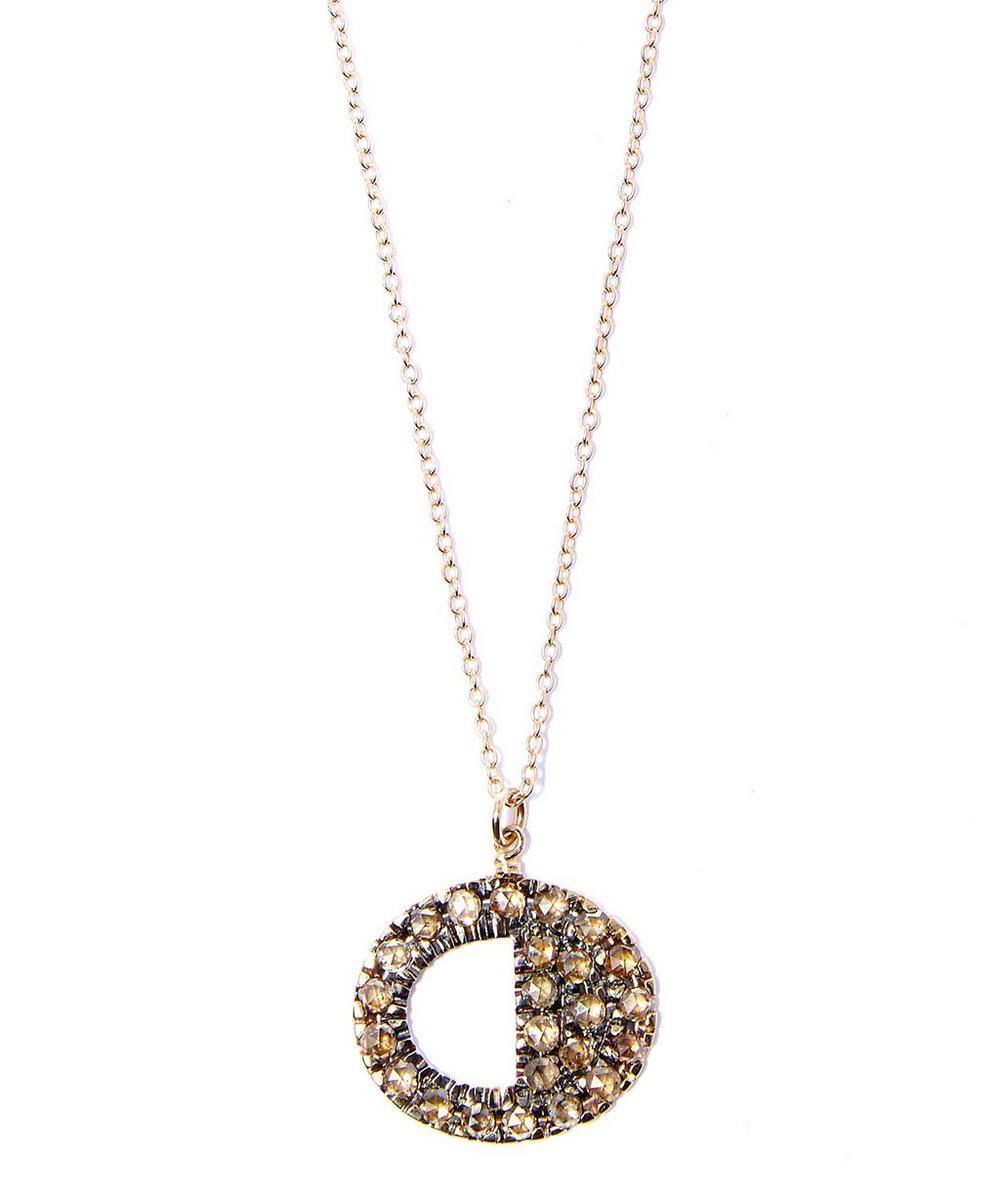 Brown Diamond Cutout Circle Pendant Necklace