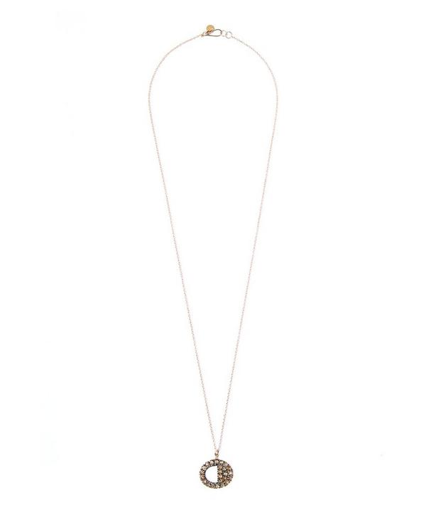 Brown Diamond Cutout Circle Pendant Necklace