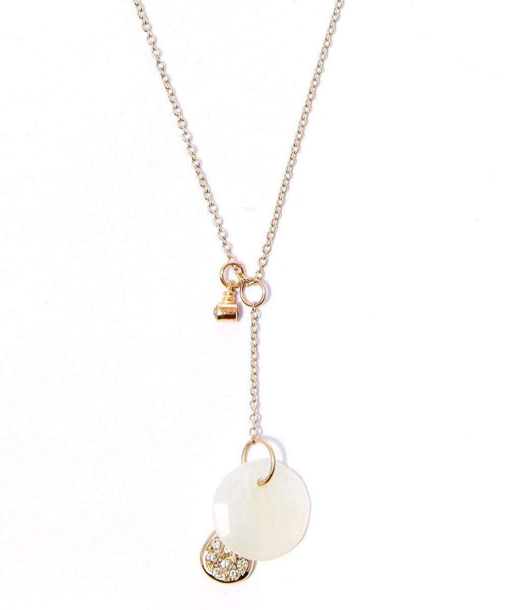 White Gold Moonstone Charm Pendant Necklace