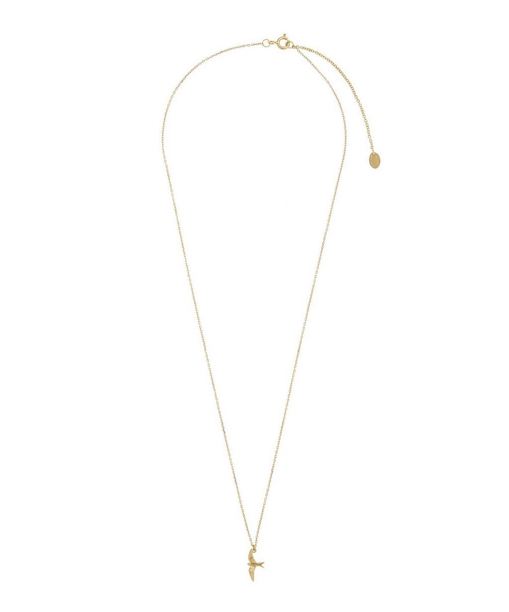 18ct Gold Teeny Tiny Swallow Fine Chain Necklace
