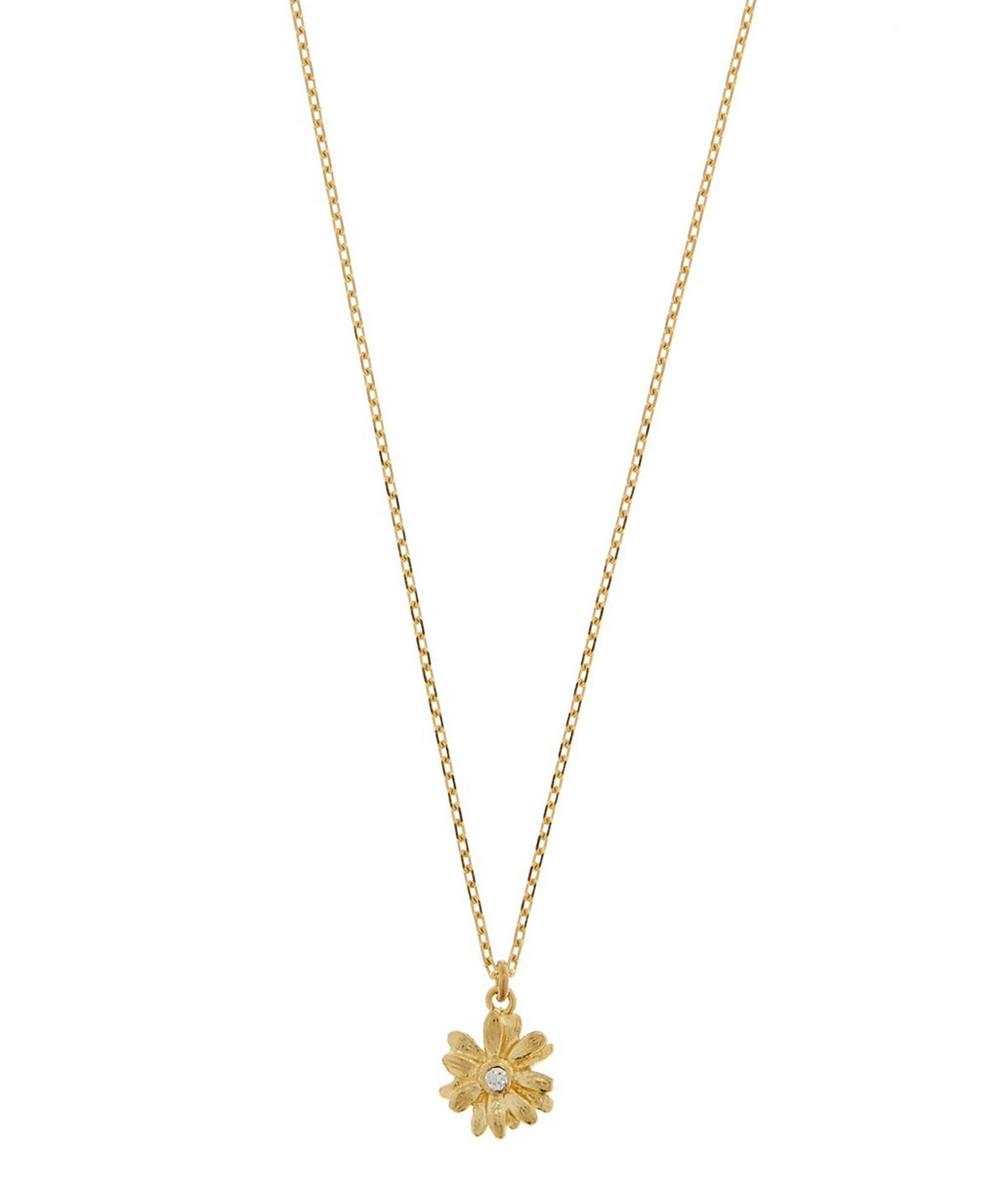 18ct Gold Diamond Teeny Tiny Daisy Fine Chain Necklace