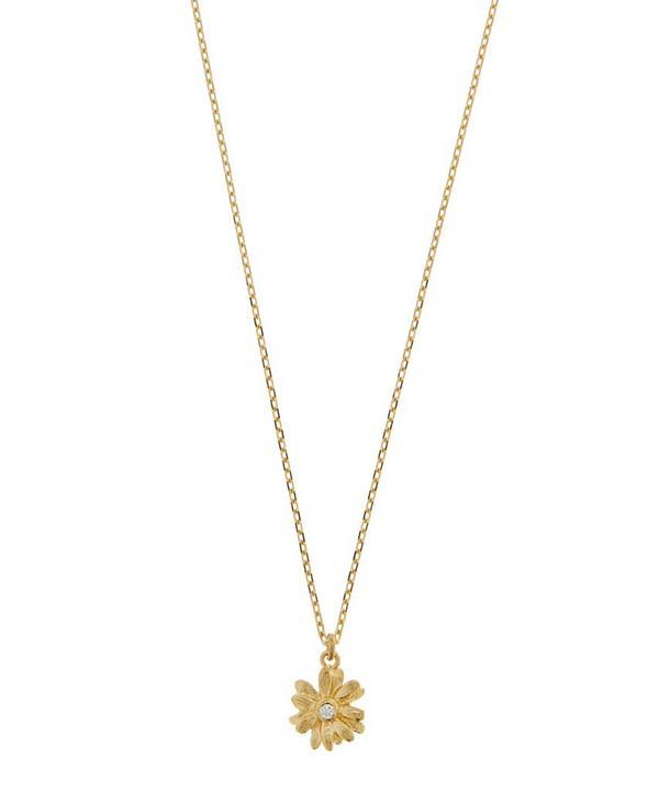 18ct Gold Diamond Teeny Tiny Daisy Fine Chain Necklace