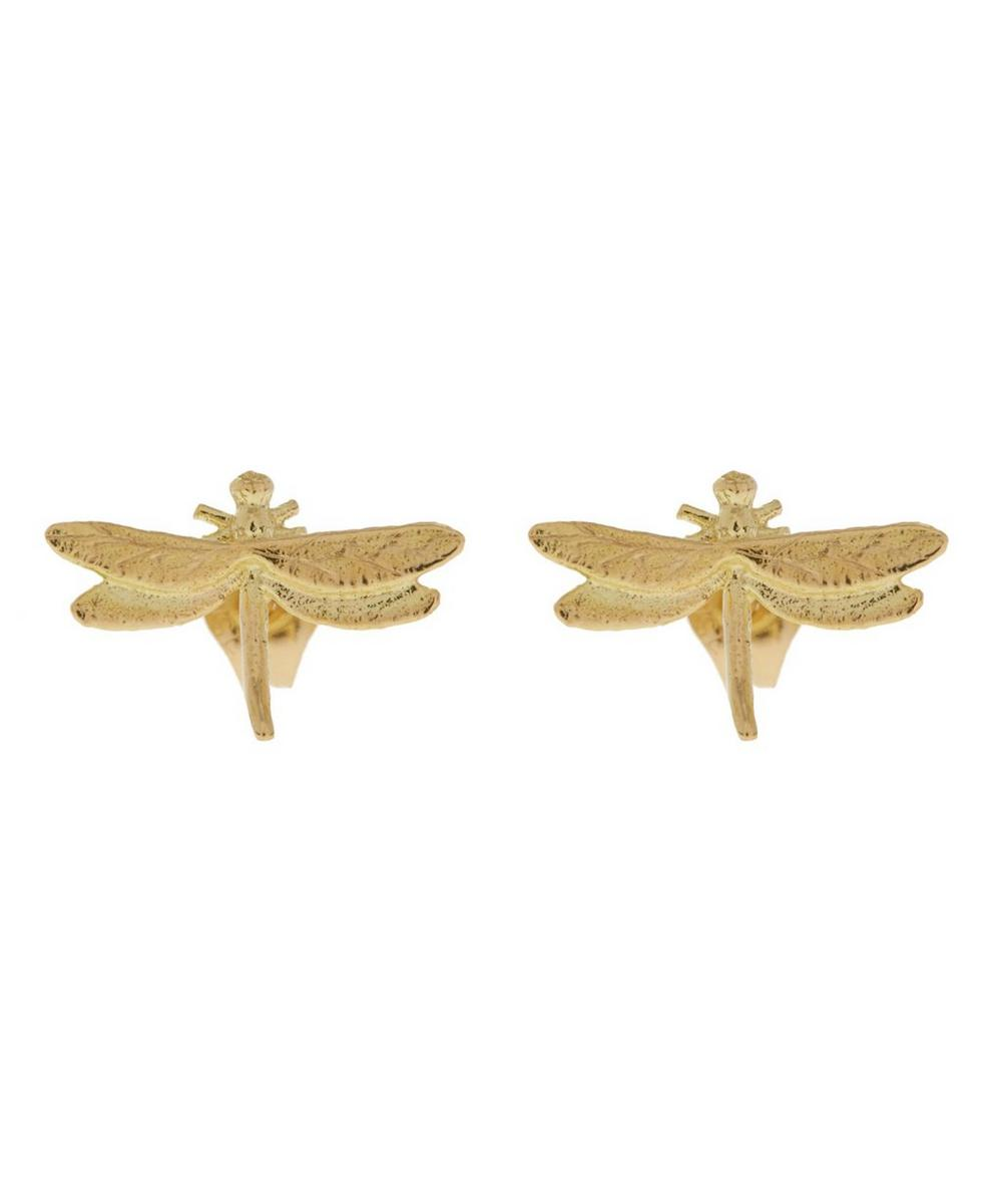 18ct Gold Teeny Tiny Dragonfly Stud Earrings
