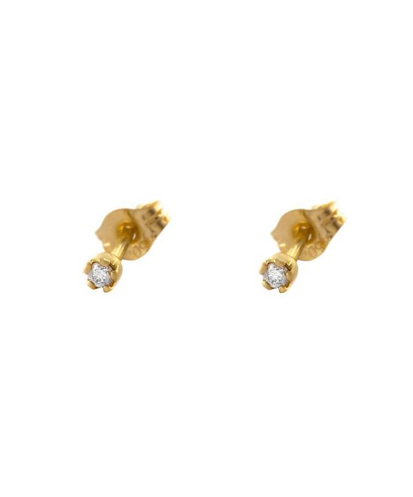 18ct Gold Diamond Tiny Claw Stud Earrings