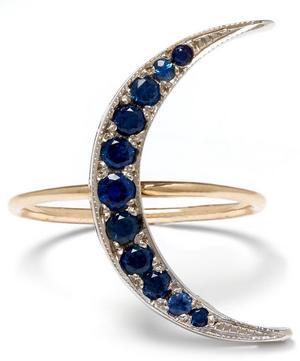 Medium Gold Sapphire Luna Crescent Moon Ring
