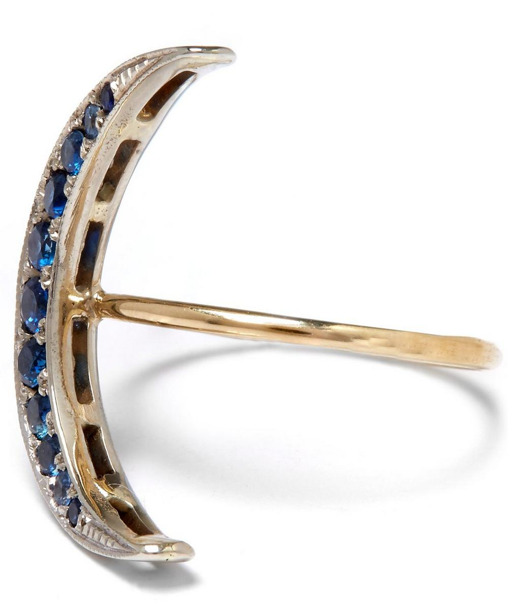 Medium Gold Sapphire Luna Crescent Moon Ring