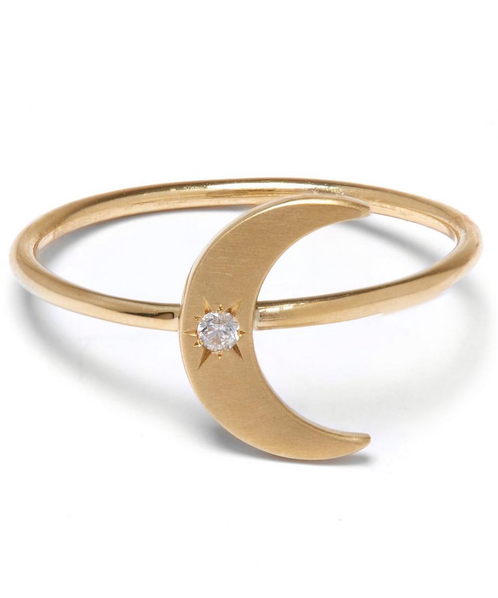Gold Diamond Crescent Moon Ring