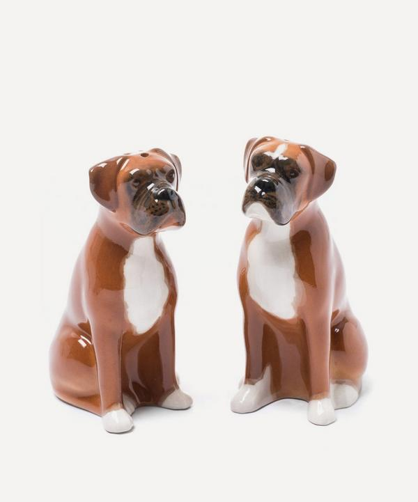 Boxer Dog Stoneware Salt and Pepper Shakers