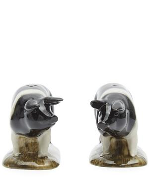 Saddleback Pig Stoneware Salt and Pepper Shakers