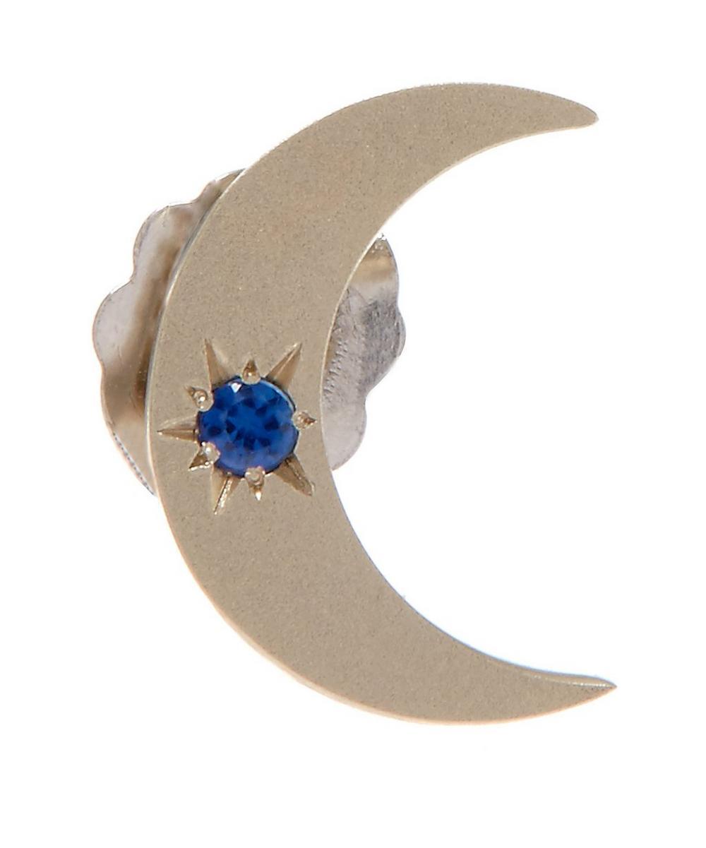 Gold Sapphire Moon Stud Earring