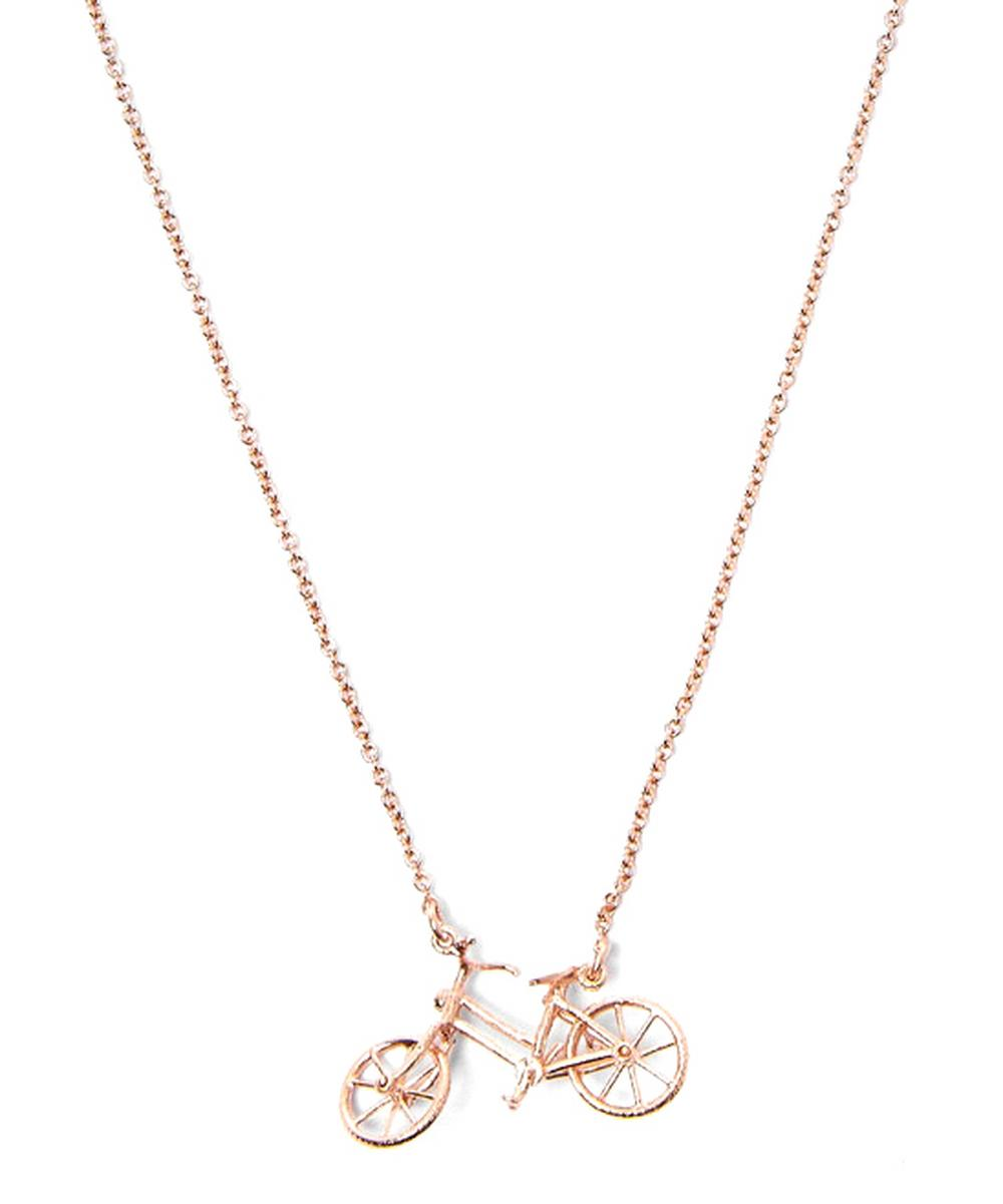 Gold-Plated Bicycle Necklace