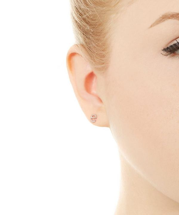 Rose Gold Diamond E Single Stud Earring