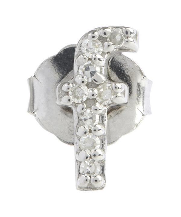 Diamond F Single Stud Earring