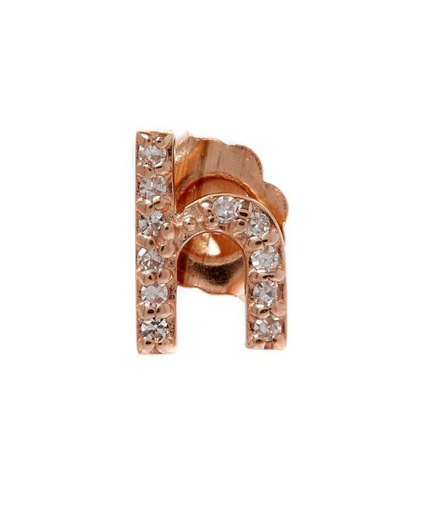 Rose Gold Diamond H Single Stud Earring